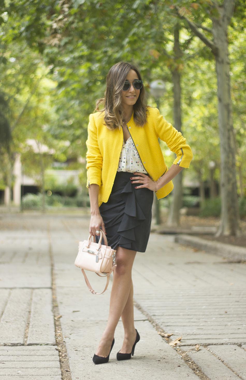 Yellow Jacket Draped Grey Skirt Outfit02
