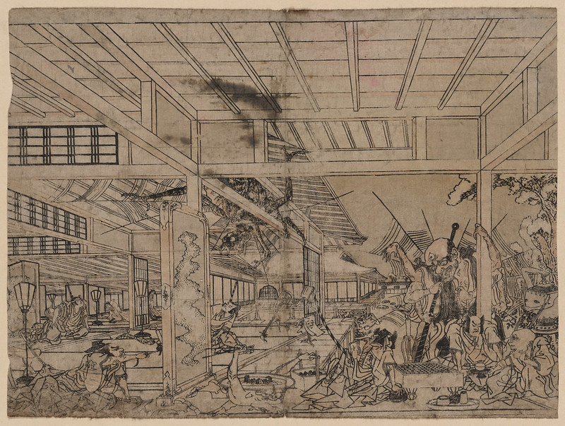 Utagawa Toyoharu - Minamoto Raikō battling the giant spider and its demons. 1772 - 74