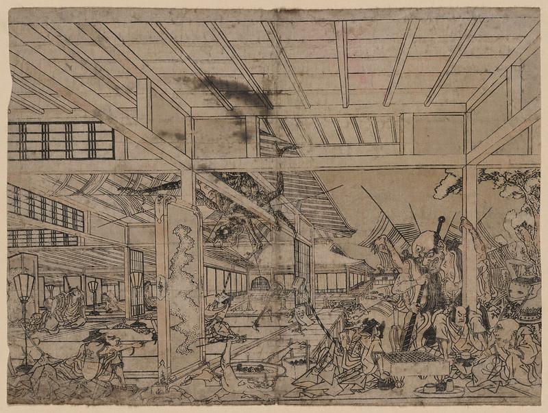 Utagawa Toyoharu - Minamoto Raikō battling the giant spider and its demons. 1772 - 74