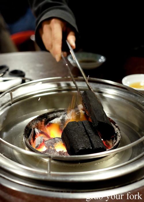 Charcoal barbecue set-up at Jang Tur Charcoal BBQ Restaurant, Canterbury