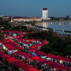 The night market at dusk on the Mekong River in Vientiane, Laos. #travel #laos #market