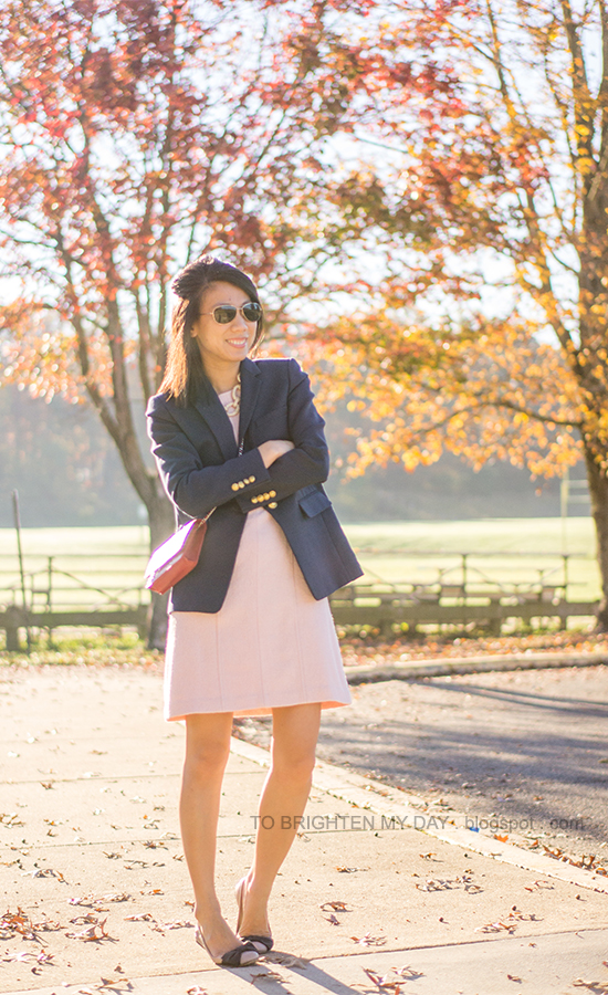 navy blazer, pink wool dress, red crossbody bag, bow ballerina flats