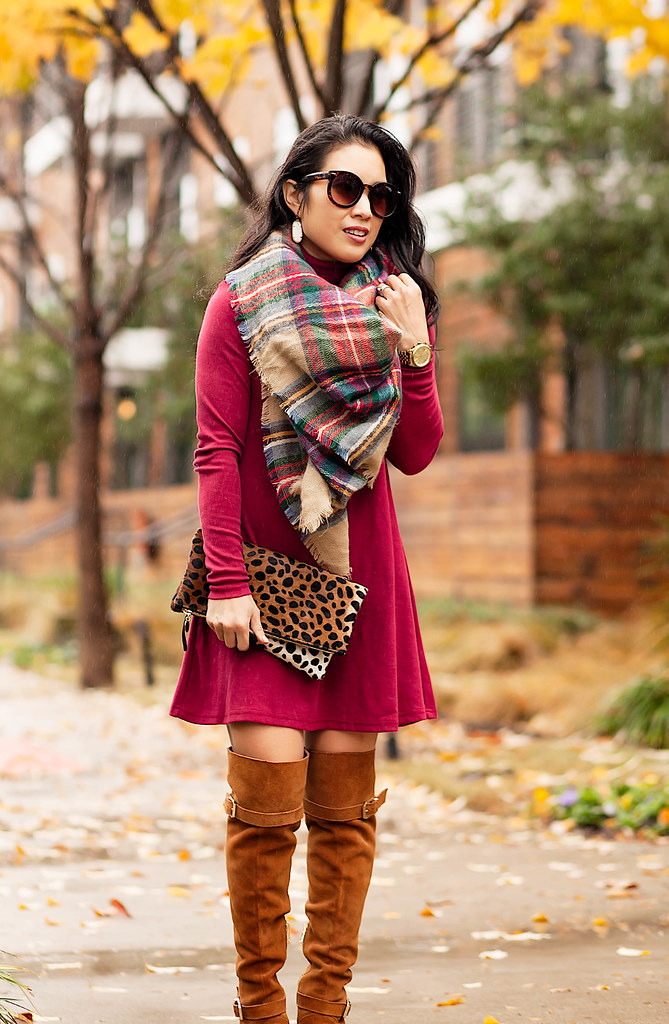 cute & little blog | petite fashion | burgundy sweater dress, tartan plaid blanket scarf, tan over the knee otk boots, leopard clutch | fall outfit