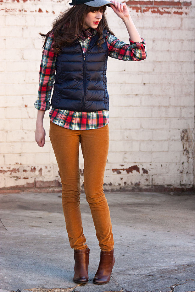Uniqlo Vest, Plaid Popover, Neck Scarf, Sole Society Booties
