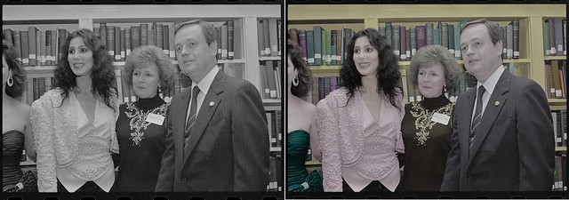 Cher Singer before and after colorization