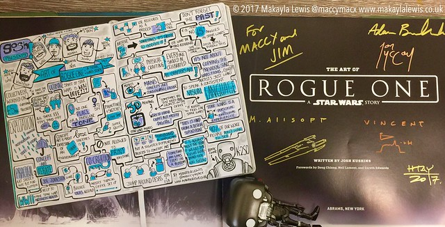 Sketchnotes from Gosh! Comics Art of Rogue One: A Star Wars Story Signing & Talk with Adam Brockbank, Matt Allsopp, Vincent Jenkins, Jon Mccoy and Will Htay (drawn by Makayla Lewis)