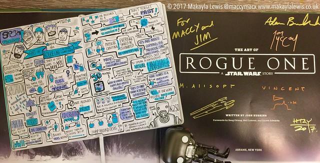 Sketchnotes from Gosh! Comics Art of Rogue One: A Star Wars Story Signing & Talk with Adam Brockbank, Matt Allsopp, Vincent Jenkins, Jon Mccoy and Will Htay (drawn by Makayla Lewis)