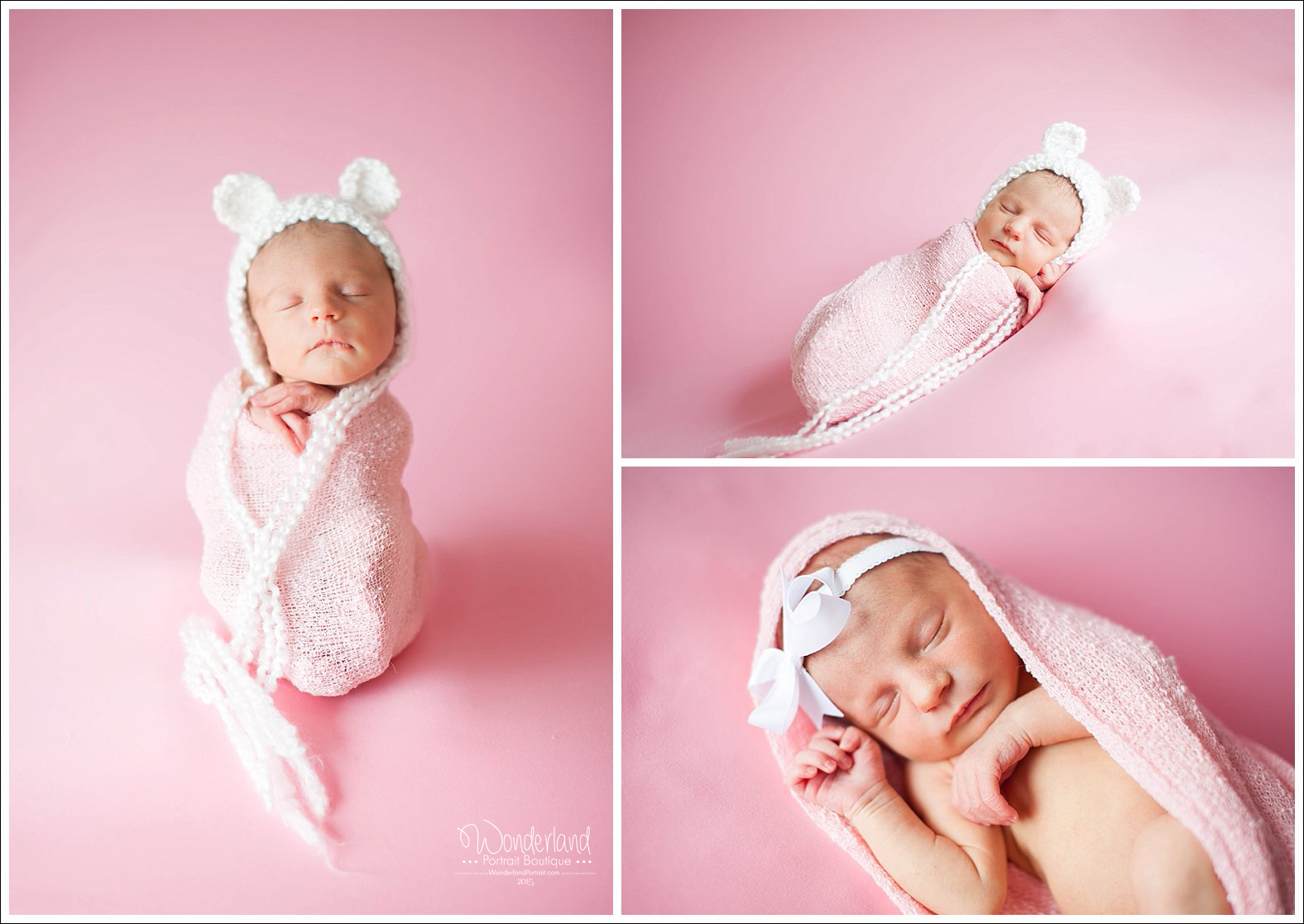 Girl Bear Pink Potato sack Pose Ideas  Newtown PA Newborn Photography | WonderlandPortrait.com
