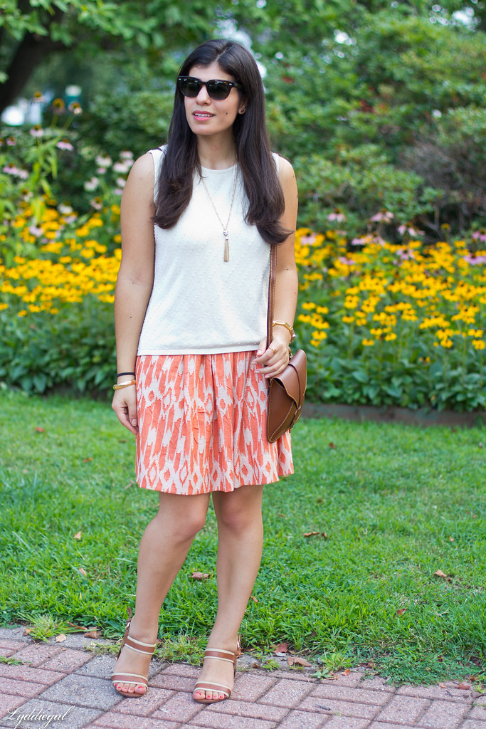 orange ikat skirt, beaded silk shell, brown sandals.jpg