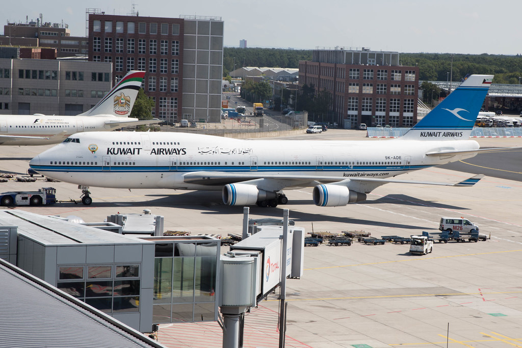 Kuwait Airways Boeing 747-400 9K-ADE at the gate in Frankfurt