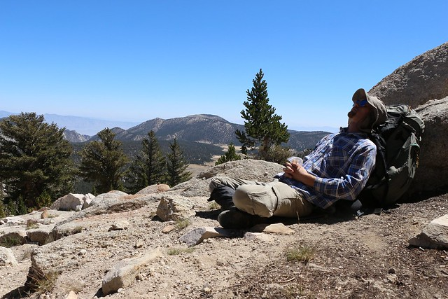 Taking a nice break out of the wind on top of Cottonwood Pass