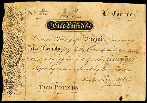 Virginia March 4, 1773 - Ashby Note