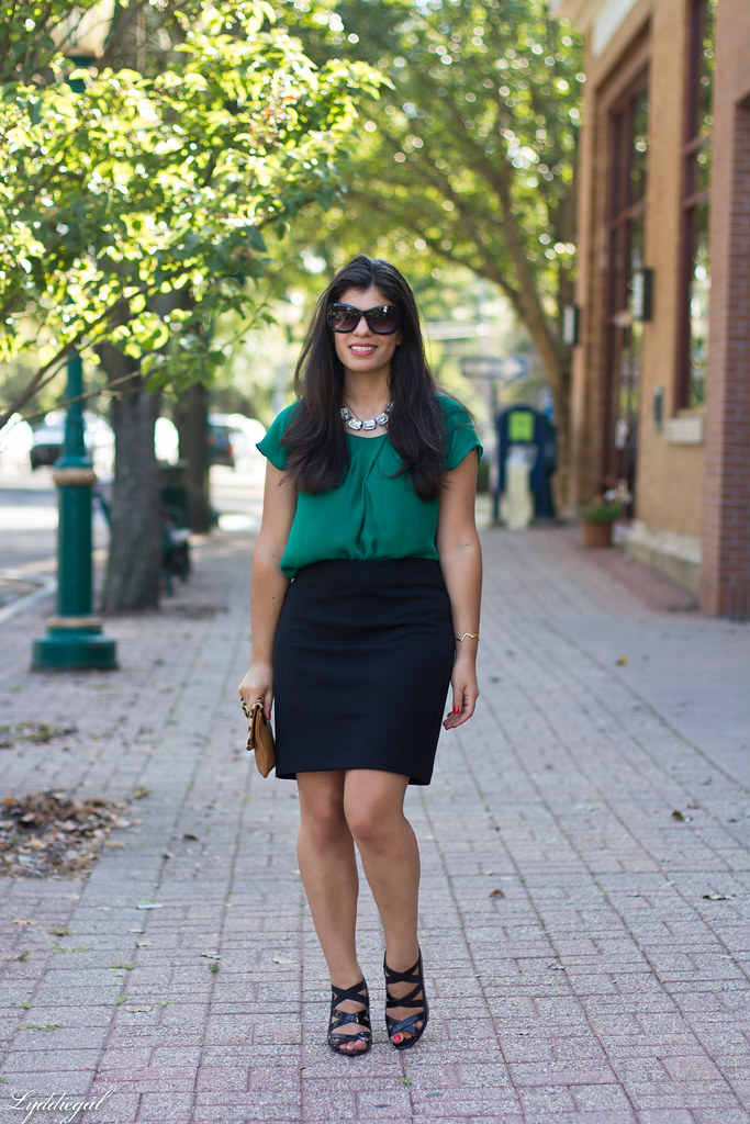 green blouse, black pencil skirt, leopard clutch-2.jpg