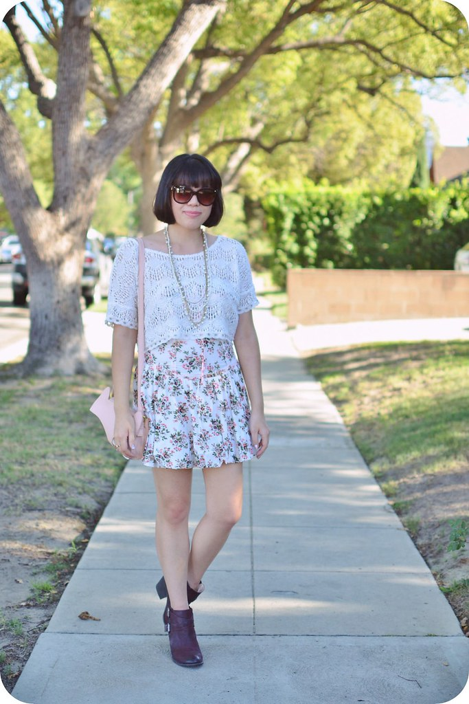 Sweets & Hearts fashion and style: outfit featuring Sole Society Maris ankle boot, Tracy Feith x Target dress, Happiness Boutique statement necklace, Forever 21 lace blouse, pink fox handbag