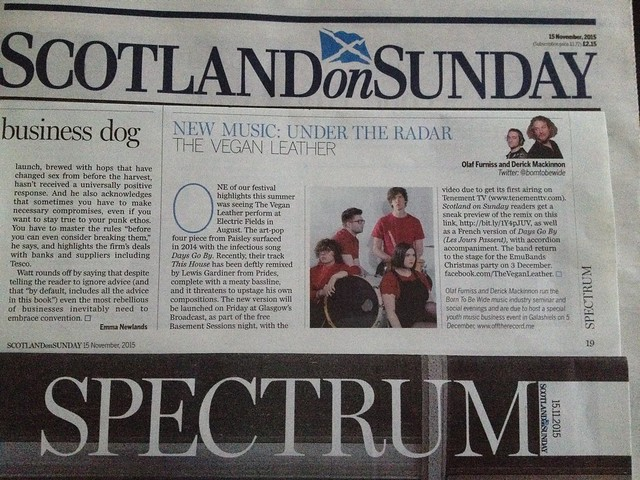 Olaf Furniss and Derick Mackinnon, Scotland On Sunday, Spectrum Magazine, 15 November 2015, The Vegan Leather