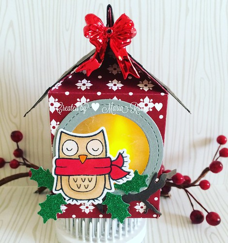 Christmas LED birdhouse ornament with the milk carton die and winter owl