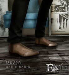 Devon ankle boots @ Shiny Shabby for men. Available in various trendy colors. Taxi: maps.secondlife.com/secondlife/Shiny%20Shabby/110/160/21