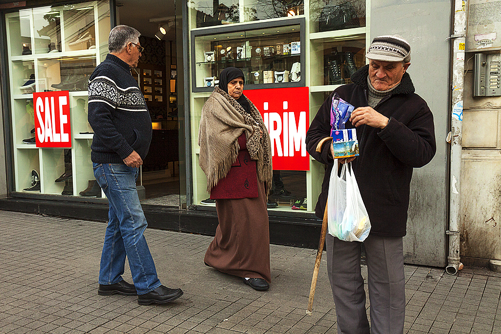 Blind man selling tissue paper--Istanbul