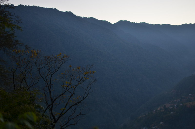 The landscape as seen from the forest after crossing Rammam