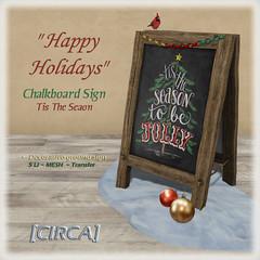 "[CIRCA] - ""Happy Holidays"" - Chalkboard Sign - Tis the Season"
