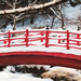Bright Bridge on a Snowy Day