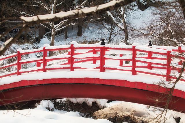 Bright Bridge on a Snowy Day