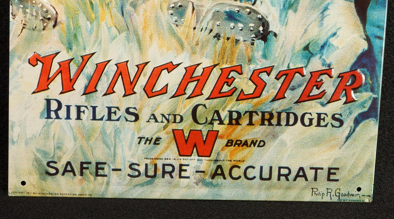 RD14452 Winchester Rifles and Cartridges The W Brand Tin Metal Sign DSC07834