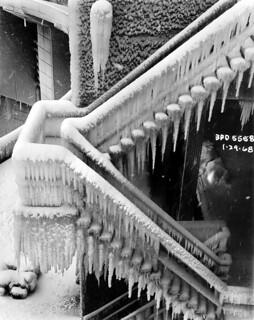 Ice on stairway, 1968