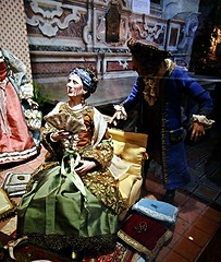 Modern statuettes with clothes, for crib (18th century style) - Temporary exhibition in Naples