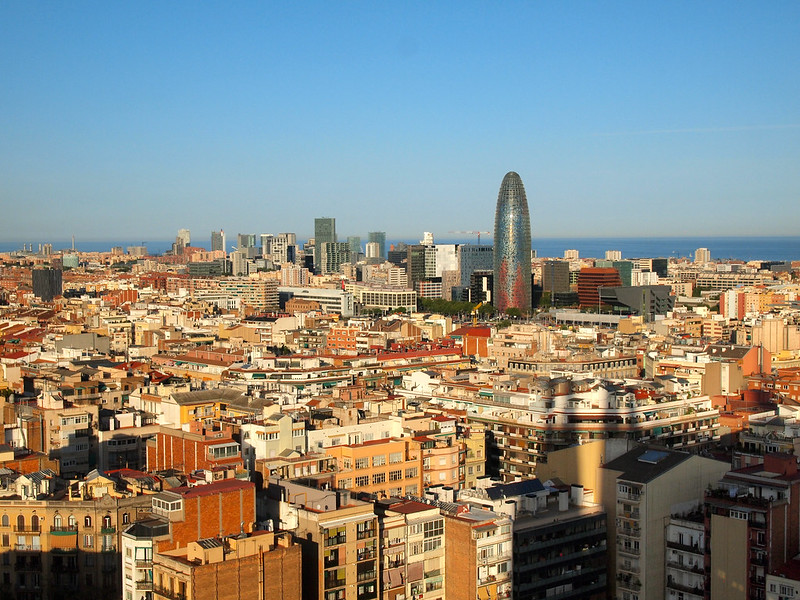 View from Sagrada Familia tower in Barcelona