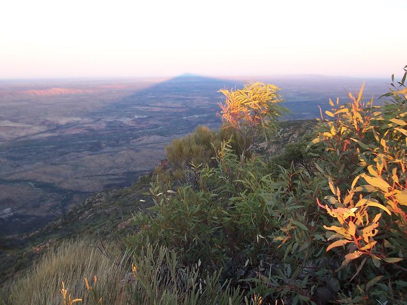 The cone-shaped shadow of Mount Sonder - Larapinta Trail