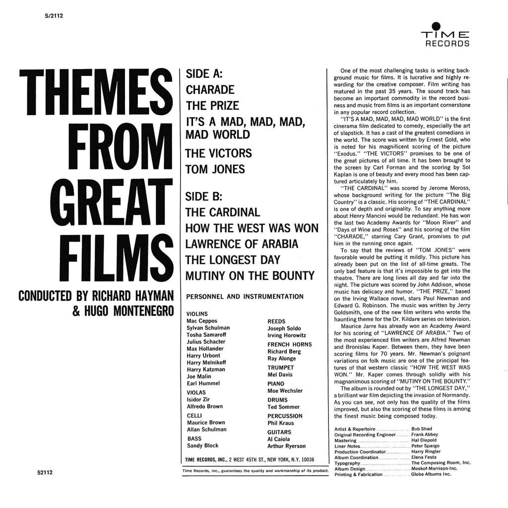Richard Hayman Hugo Montenegro - Themes from Great Films