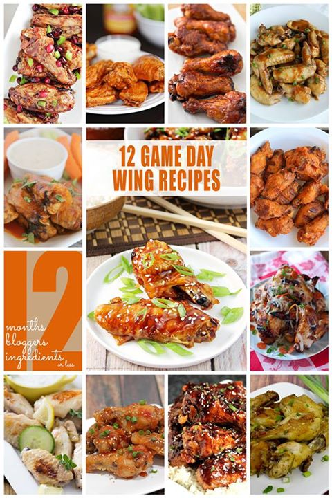 12 bloggers Game Day Wings Recipes collage.