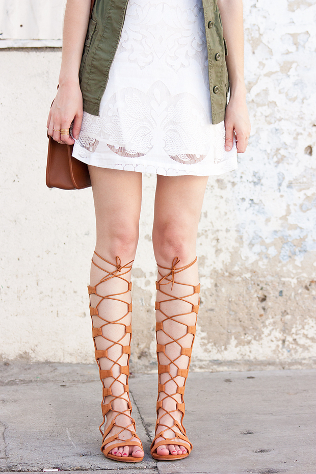 Lace Up Gladiator Sandals, White Lace Dress, Outfit for Summer