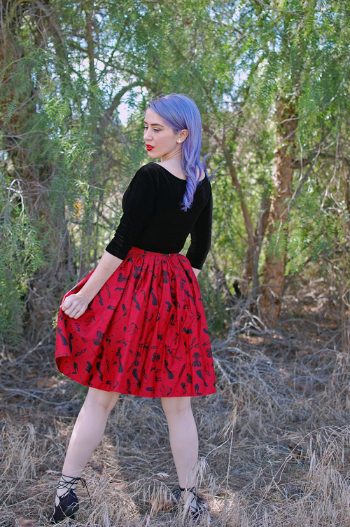 Pinup Girl Clothing Deadly Dames Darling Dames Skirt in Fetish Print