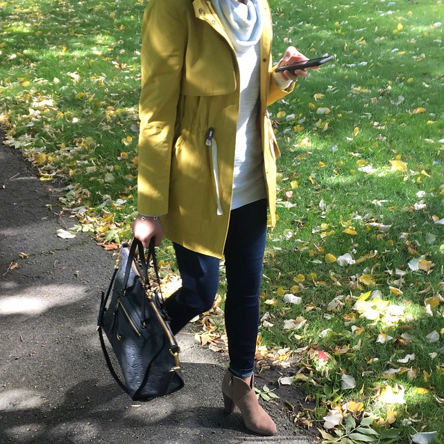 LOFT Mustard Anorak Outfit