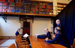 U.S. Secretary of State John Kerry reviews his remarks in a room at the Boston Public Library in Boston, Massachusetts, on October 13, 2015, as Assistant Secretary of State for East Asian and Pacific Affairs Danny Russel, Assistant Secretary of State for the Bureau of Political-Military Affairs Puneet Talwar, and Deputy Assistant Secretary for Australia, New Zealand and the Pacific Islands Matthew Matthews look on before the annual AUSMIN diplomatic and defense meetings. [State Department photo/ Public Domain]