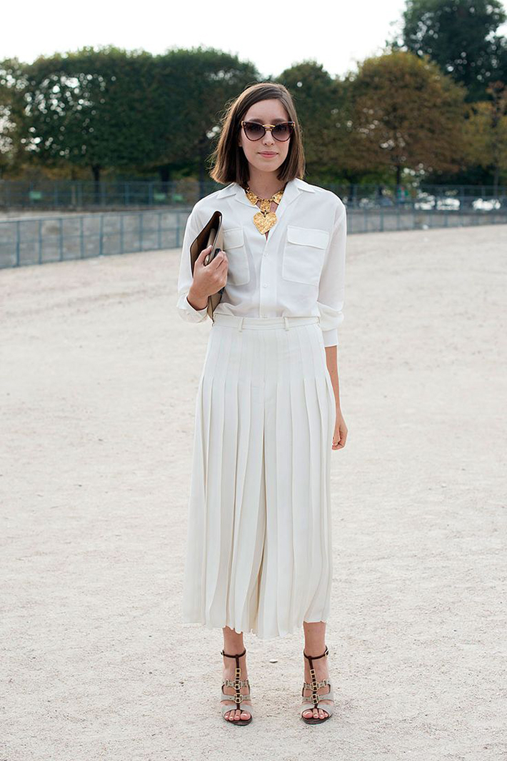 pleated skirts midi streetstyle outfit inspiration3