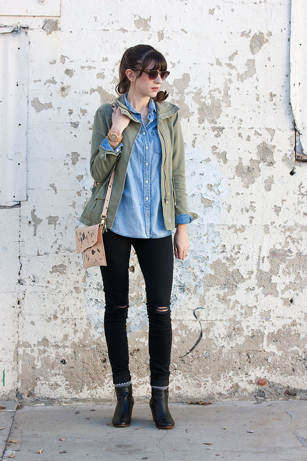 J.Crew chambray shirt, Green Cargo Jacket, Walter and George Clutch, Gap ripped denim