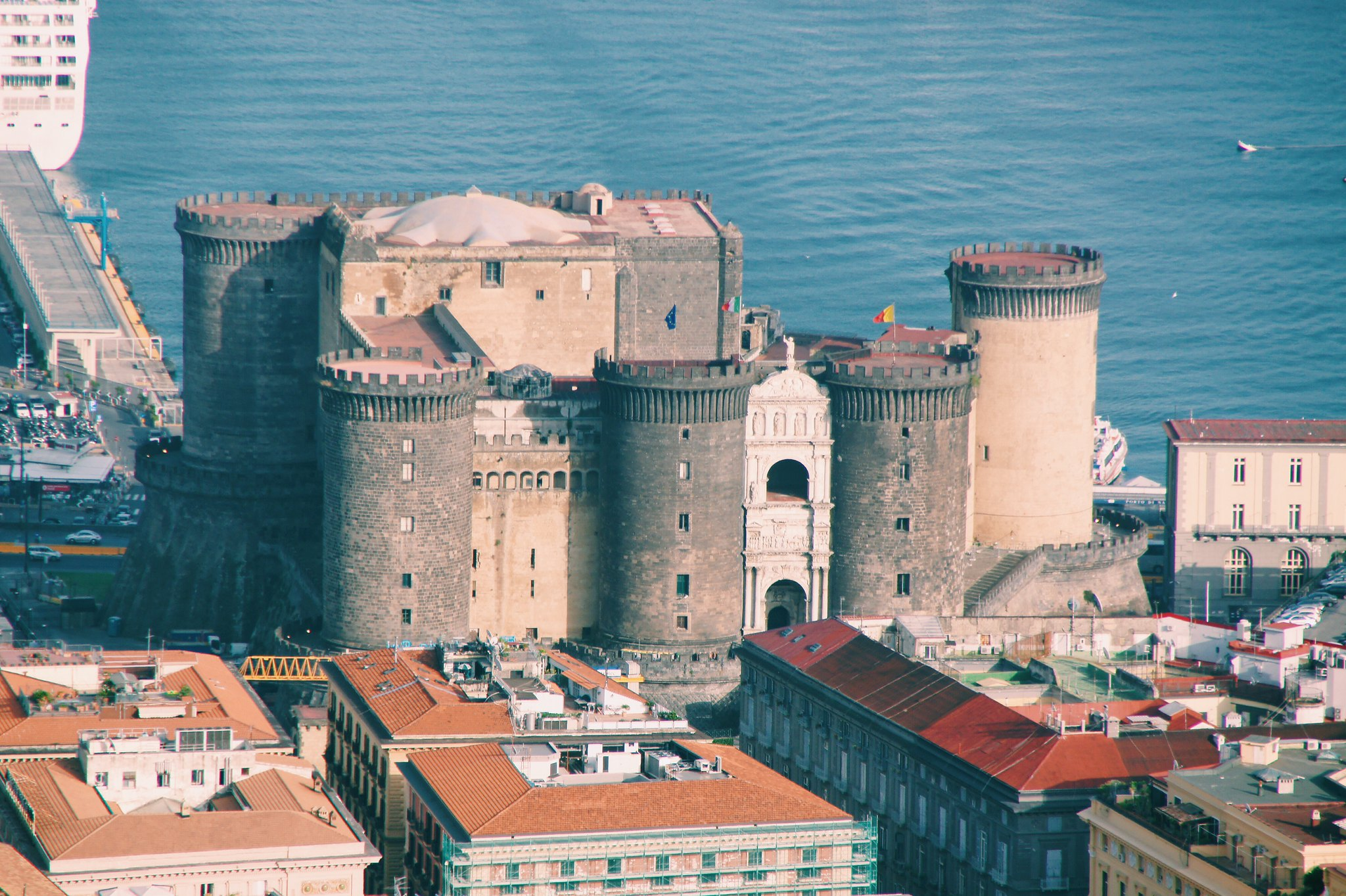 Castel Nuovo, New Castle, view from Saint Elmo Castle, Naples