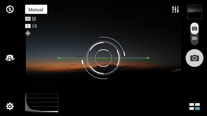 Horizon level indicator and histogram graph