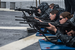 Sailors participate in a M16 live-fire exercise.