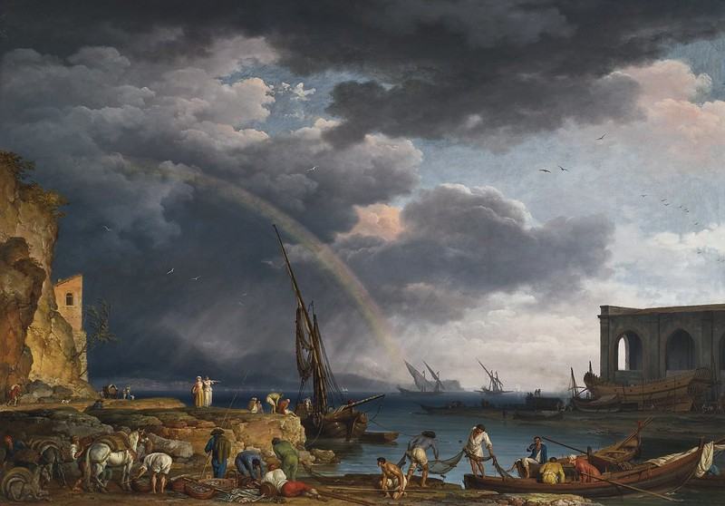 Claude-Joseph Vernet - Larc en ciel An Italianate coastal view with a rainbow, fisherman, and peasants at an inlet in the foreground, a shipwrights yard beyond (1749)