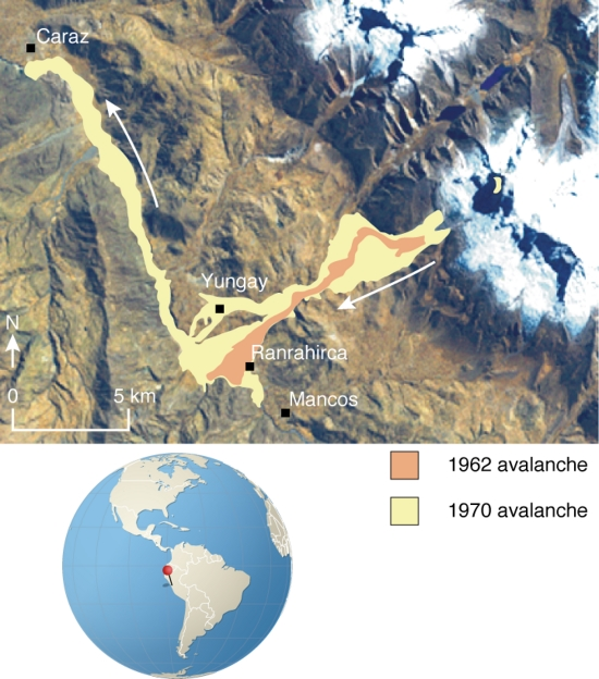 Ice avalanches of the Nevados Huascarán in Peru   GRID-Arendal