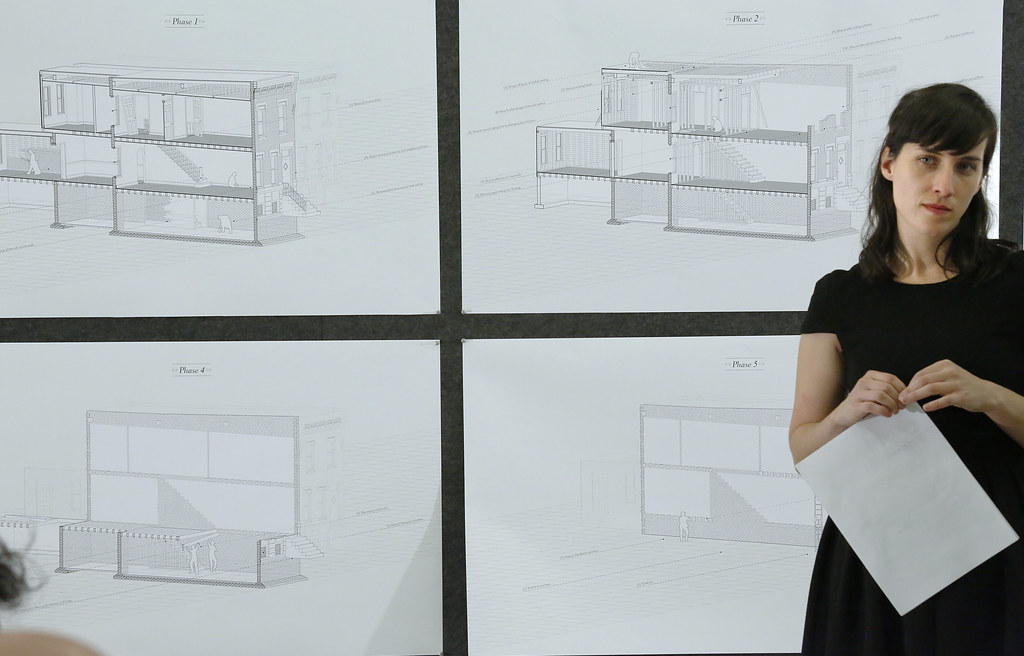 Lindy Foltz presenting her M.Arch. thesis project titled <em>Reworking the Workingman's House.</em>