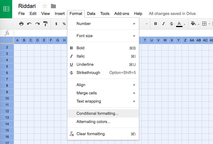 Format > Conditional formatting...