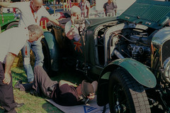 The most important tool in Historic motoring.... a phone.  ........4.5 Supercharged Bentley..Schloss Dyke Germany.