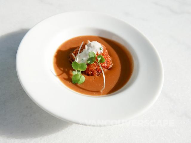 Squash and lobster bisque, black cod croquette, chive crème fraîche