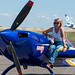 Heike Sauels from Germany on the wing of her Extra 330 SC