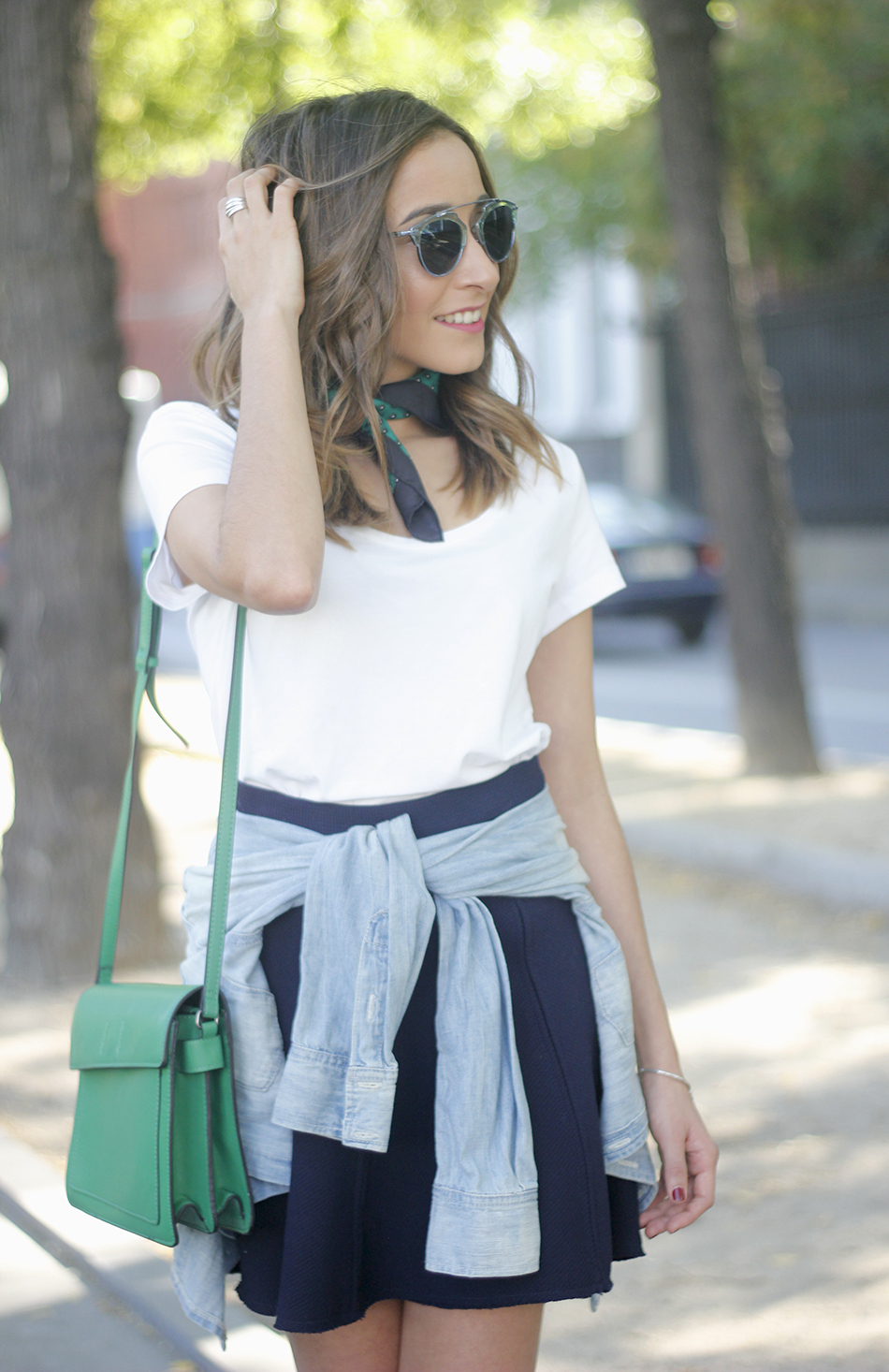 Blue Skirt Denim Shirt scarf Dior SoReal Sunnies16